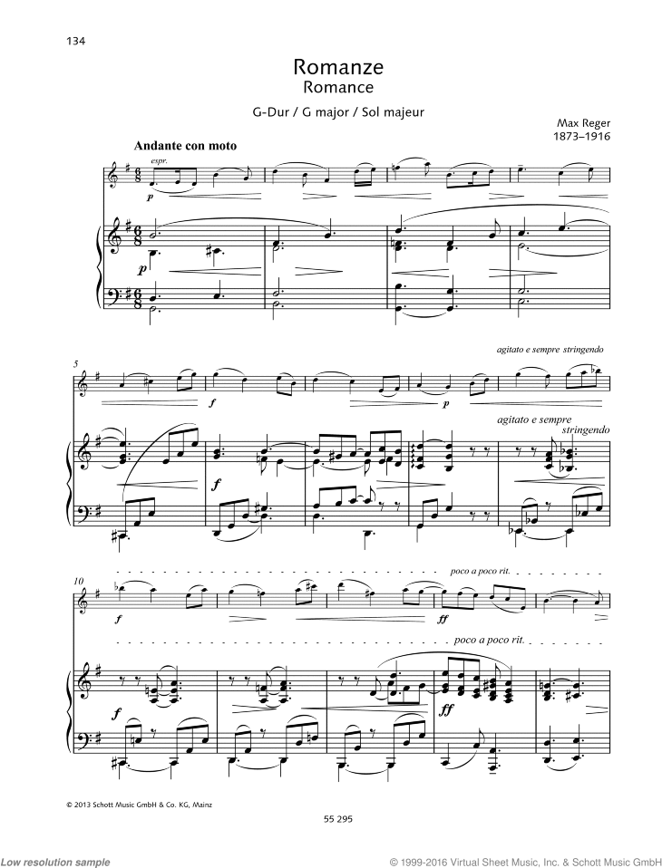 Romance in G major sheet music for violin and piano by Max Reger, classical score, easy skill level