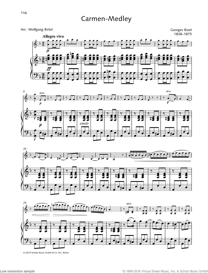 Carmen-Medley sheet music for violin and piano by Georges Bizet, classical score, easy/intermediate skill level