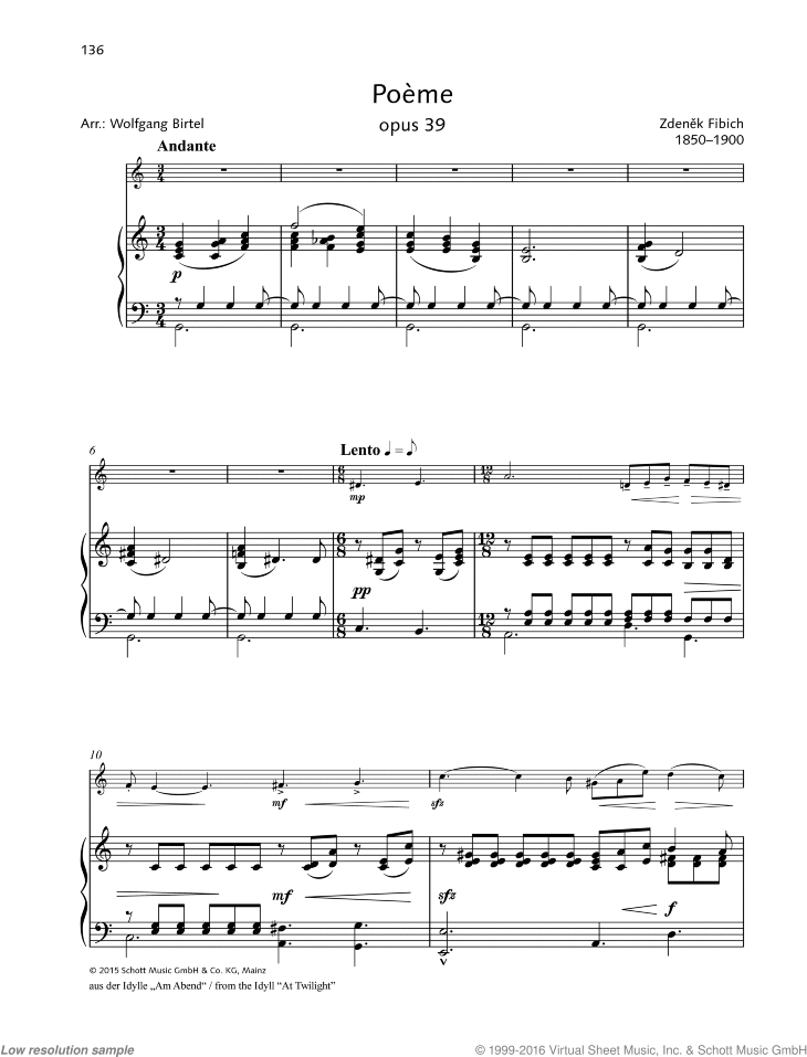 Poeme sheet music for violin and piano by Zdenek Fibich, classical score, easy/intermediate skill level
