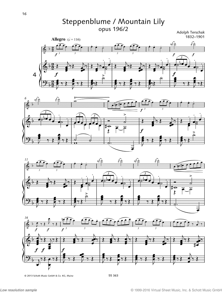 Mountain Lily sheet music for flute and piano by Adolf Terschak, classical score, easy/intermediate skill level