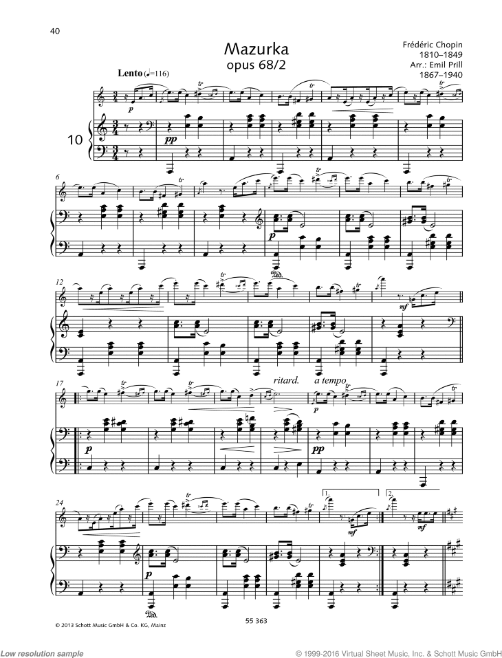Mazurka sheet music for flute and piano by Frederic Chopin, classical score, easy/intermediate skill level