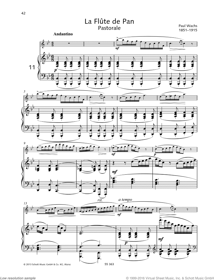 La Flute de Pan sheet music for flute and piano by Paul Wachs, classical score, easy/intermediate skill level