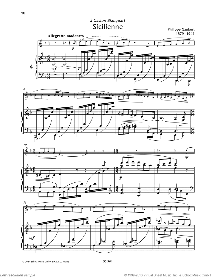 Sicilienne sheet music for flute and piano by Phillippe Gaubert, classical score, easy/intermediate skill level
