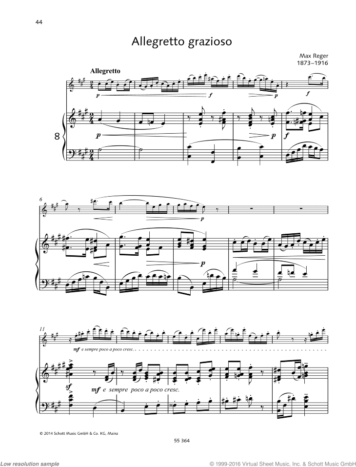 Allegretto grazioso sheet music for flute and piano by Max Reger, classical score, easy/intermediate skill level