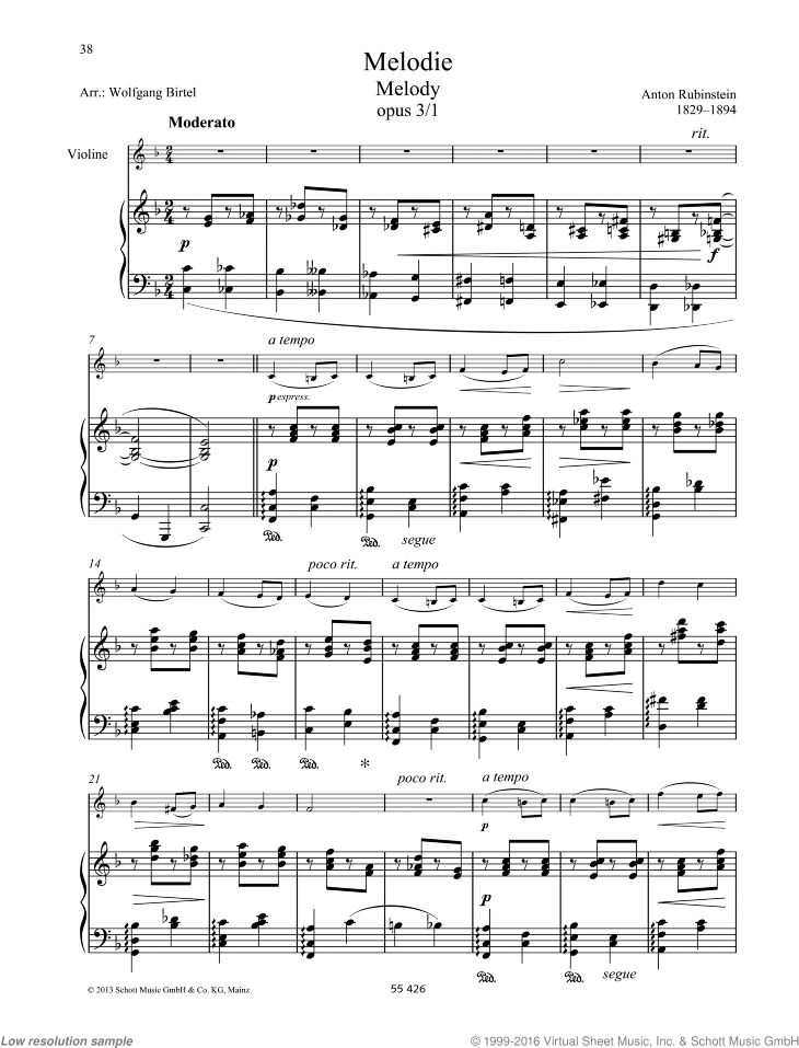 Melody sheet music for violin and piano by Anton Rubinstein, classical score, easy/intermediate skill level