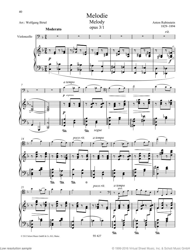Melody sheet music for cello and piano by Anton Rubinstein, classical score, easy/intermediate skill level
