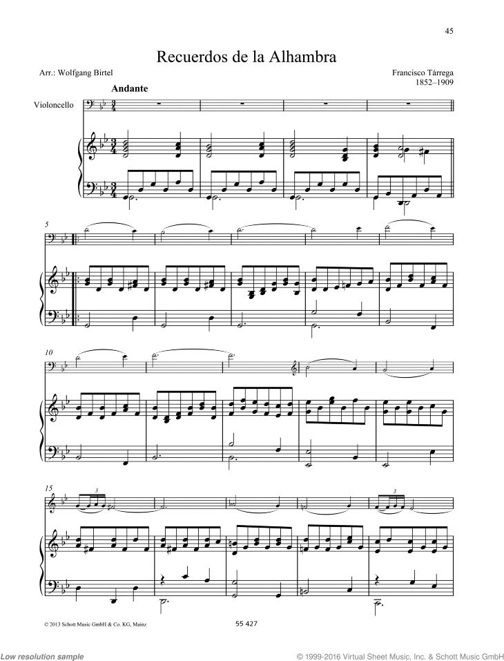 Tarrega - Recuerdos de la Alhambra sheet music for cello and piano