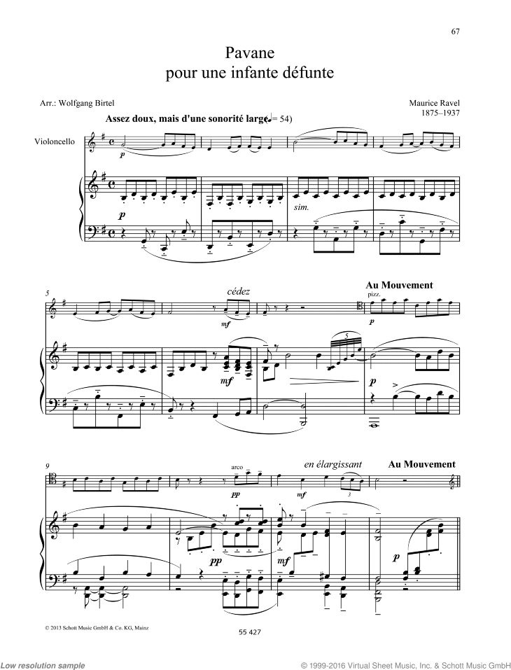 Pavane pour une infante defunte sheet music for cello and piano by Maurice Ravel, classical score, easy/intermediate skill level