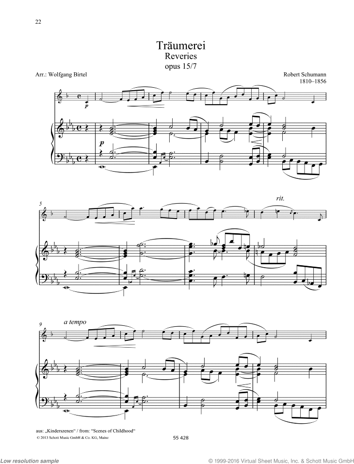 Reveries sheet music for clarinet and piano by Robert Schumann, classical score, easy/intermediate skill level