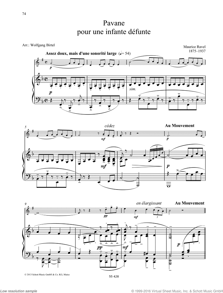 Pavane pour une infante defunte sheet music for clarinet and piano by Maurice Ravel, classical score, easy/intermediate skill level