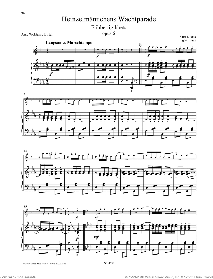 Flibbertigibbets sheet music for clarinet and piano by Kurt Noack, classical score, easy/intermediate skill level