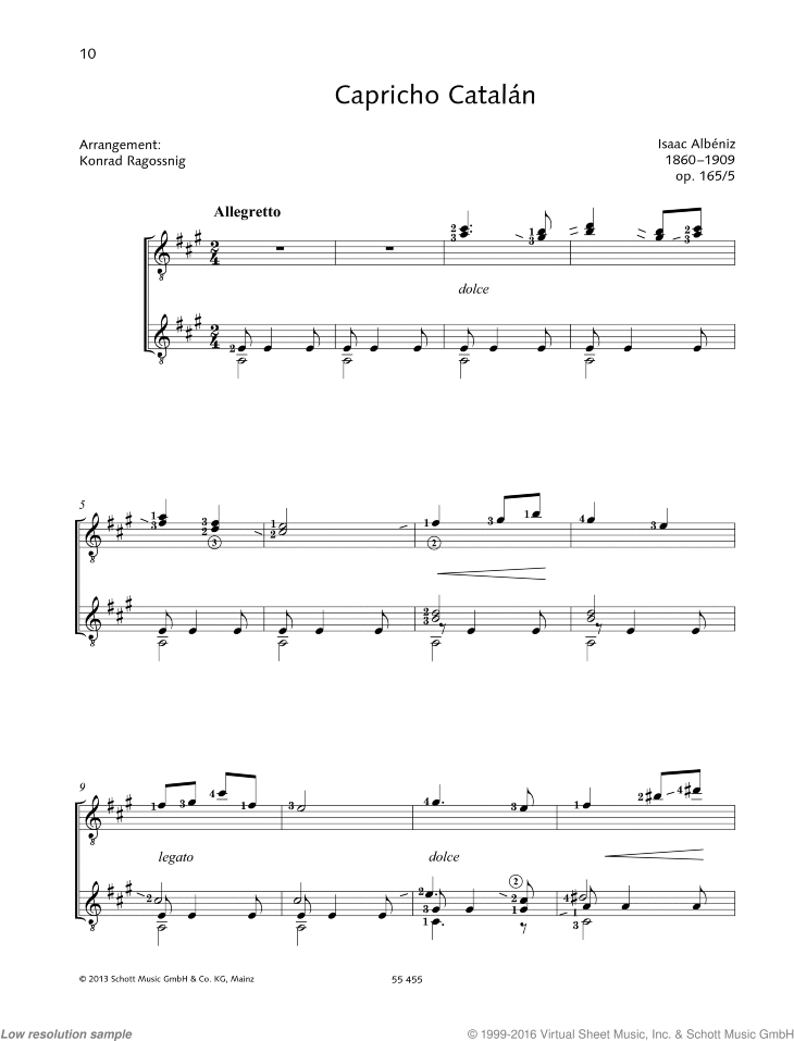 Capricho Catalan sheet music for two guitars by Isaac Albeniz, classical score, intermediate/advanced duet