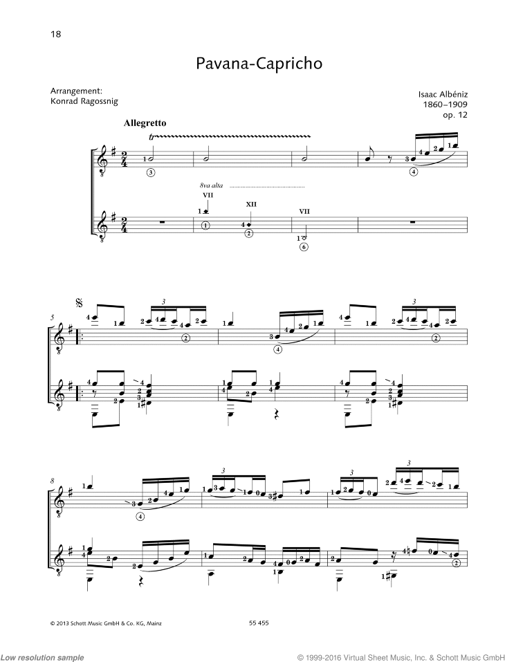 Pavana-Capricho sheet music for two guitars by Isaac Albeniz, classical score, intermediate/advanced duet
