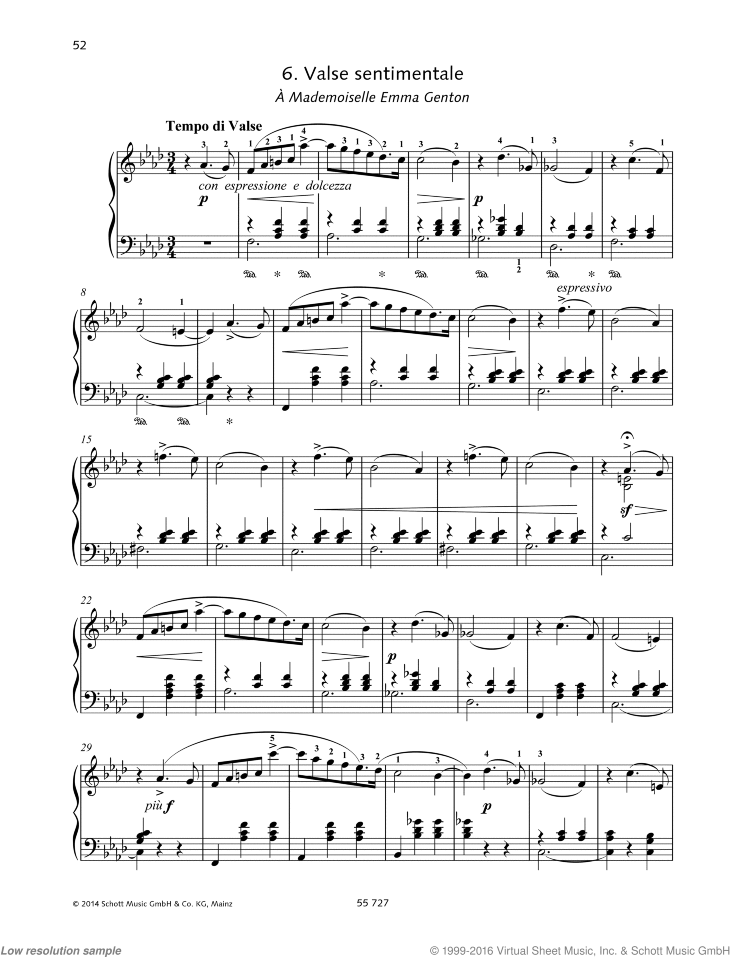 Valse sentimentale sheet music for piano solo by Pyotr Ilyich Tchaikovsky, classical score, advanced skill level