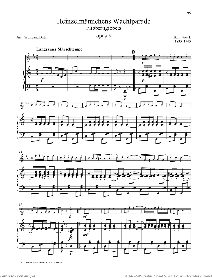 Flibbertigibbets sheet music for trumpet and piano by Kurt Noack, classical score, easy/intermediate skill level