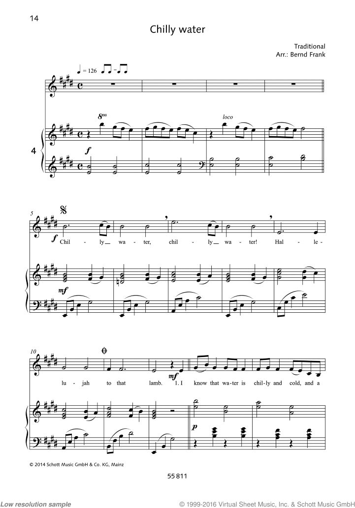 Chilly water sheet music for soprano and piano by Traditional, classical score, easy skill level