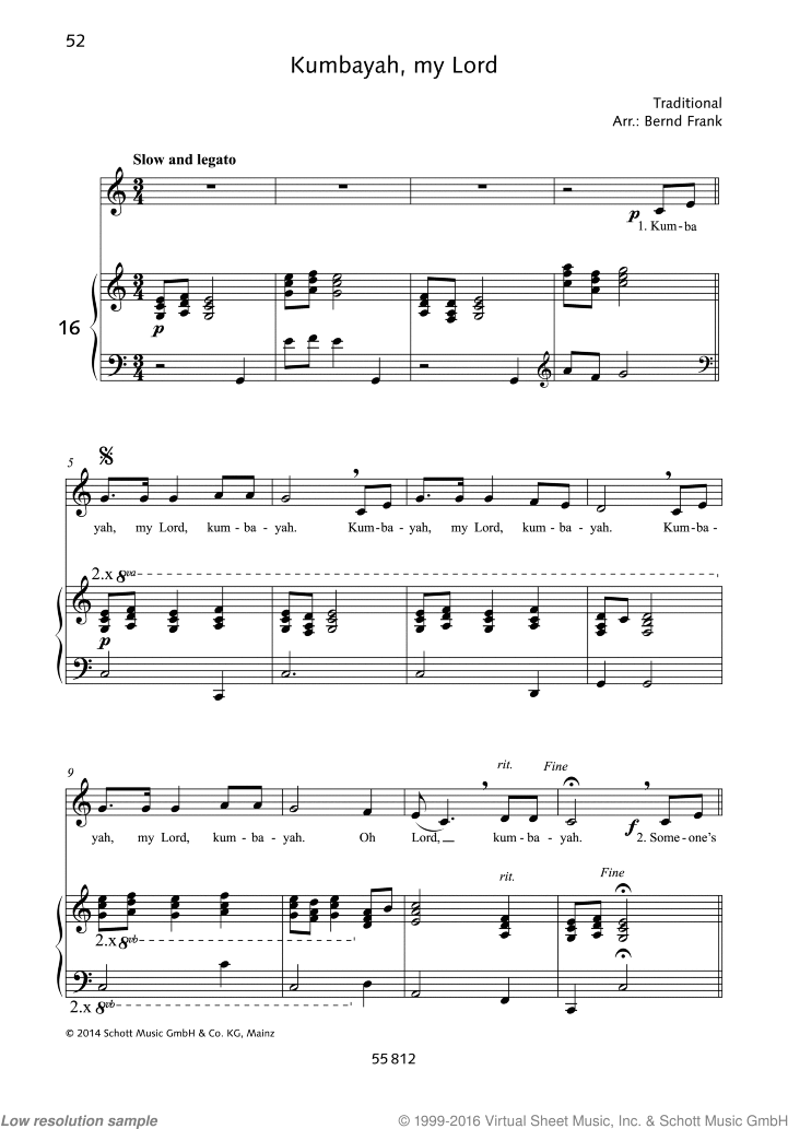 Kumbayah sheet music for alto and piano by Traditional, classical score, easy skill level