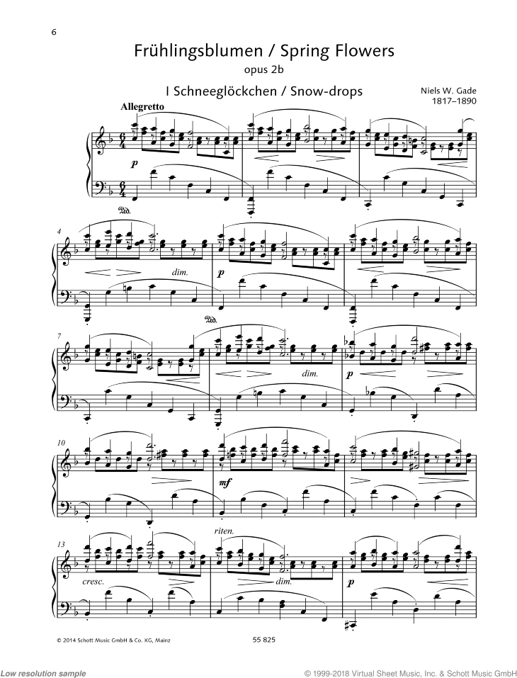 Spring Flowers sheet music for piano solo by Niels Gade, classical score, easy/intermediate skill level