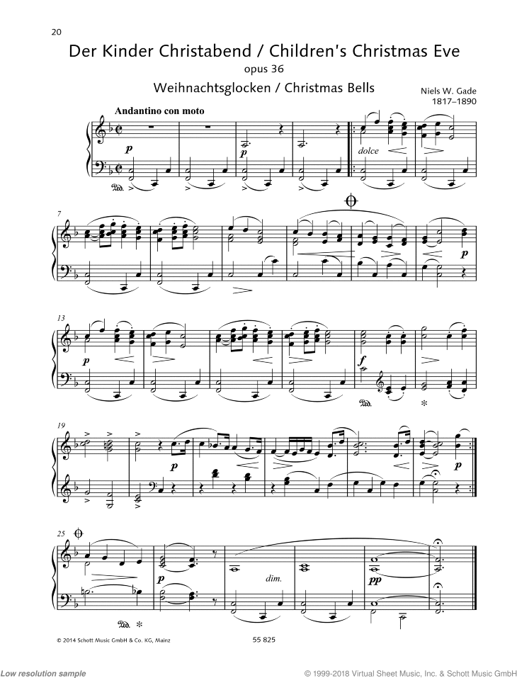 Children's Christmas Eve sheet music for piano solo by Niels Gade, classical score, easy/intermediate skill level