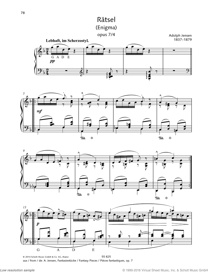 Riddle sheet music for piano solo by Adolf Jensen, classical score, easy/intermediate skill level