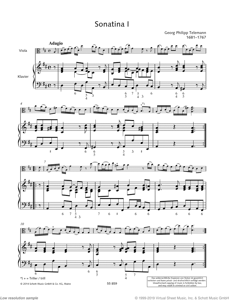Sonatina in D major sheet music for viola and piano by Georg Philipp Telemann, classical score, easy/intermediate skill level
