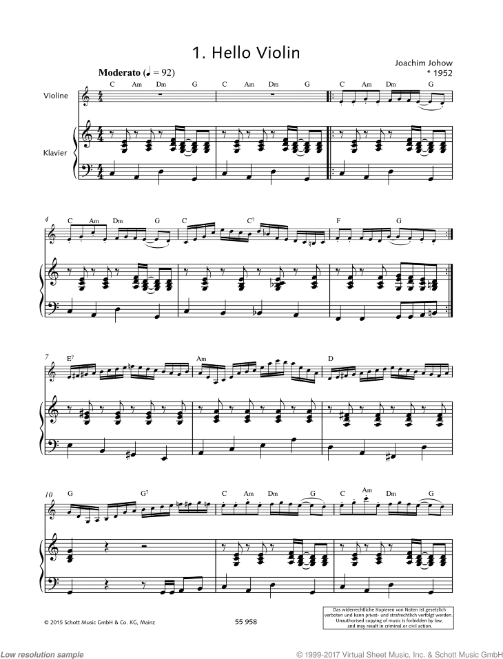 Hello Violin sheet music for violin and piano by Joachim Johow, easy/intermediate skill level