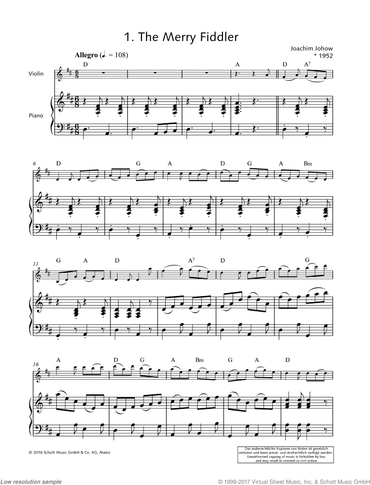 The Merry Fiddler sheet music for violin and piano by Joachim Johow, easy skill level