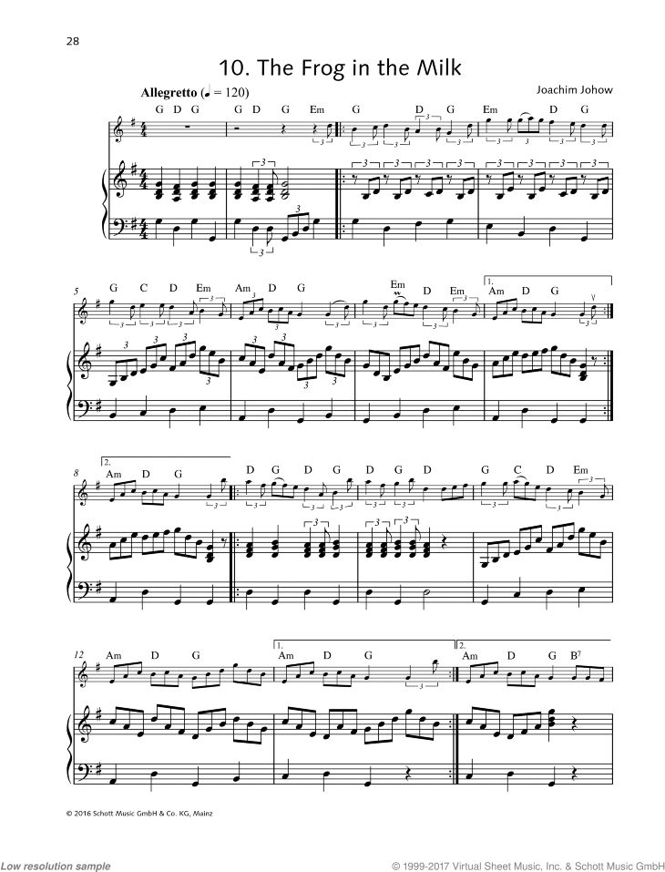 The Frog in the Milk sheet music for violin and piano by Joachim Johow, easy skill level