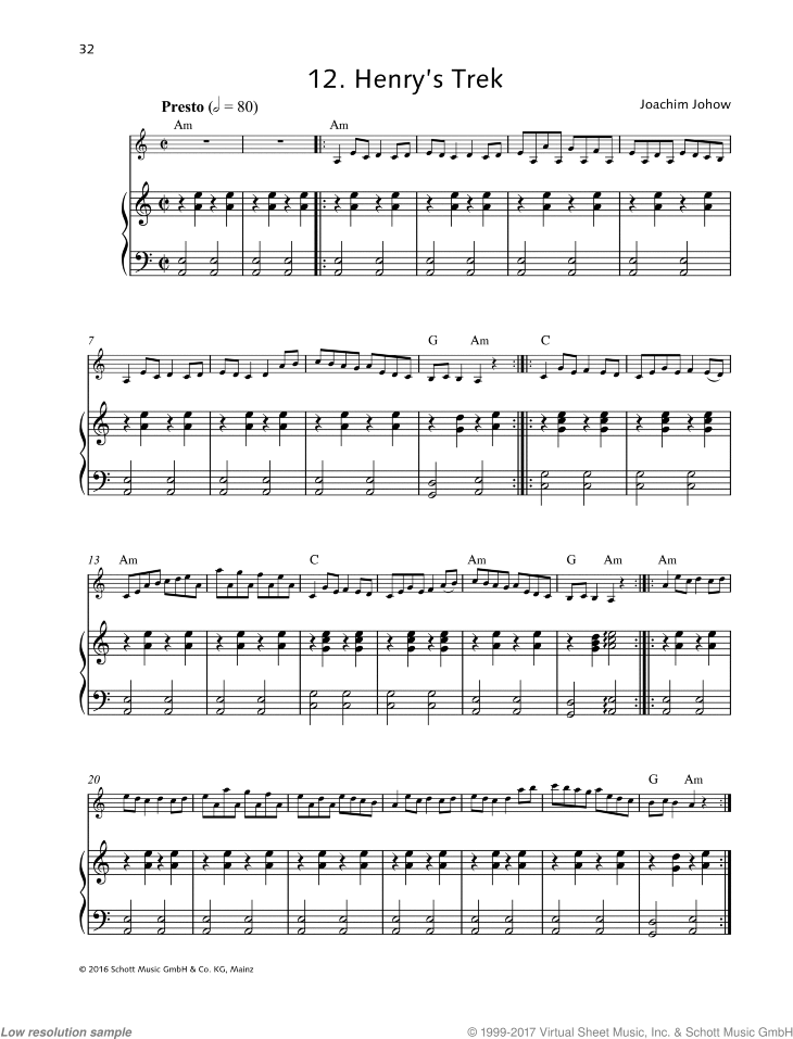 Henry's Trek sheet music for violin and piano by Joachim Johow, easy skill level
