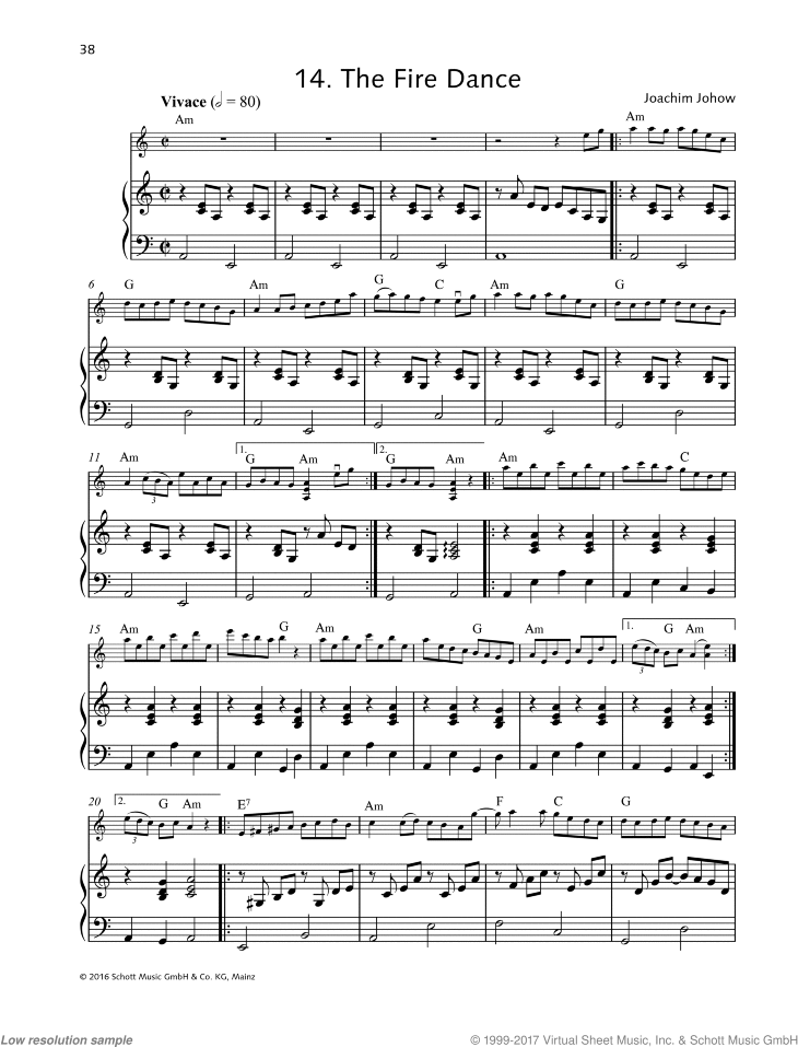The Fire Dance sheet music for violin and piano by Joachim Johow, easy skill level