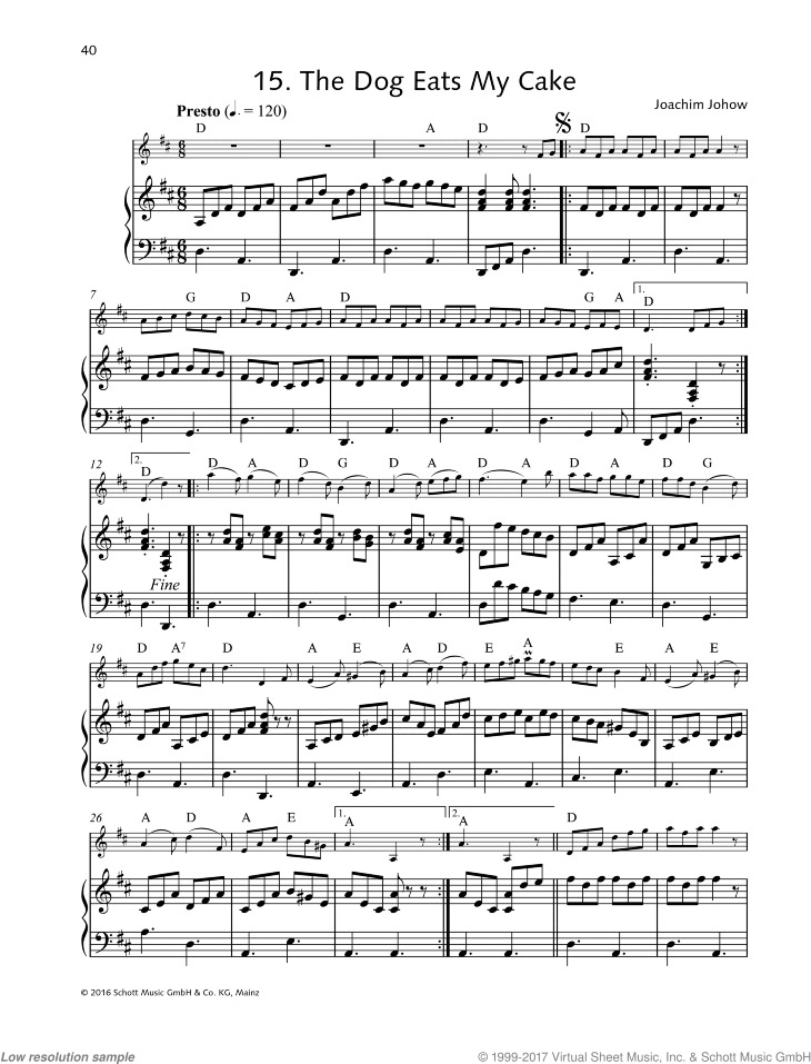 The Dog Eats My Cake sheet music for violin and piano by Joachim Johow, easy skill level