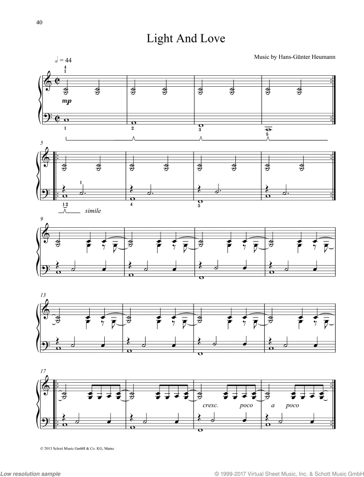 Light And Love sheet music for piano solo by Hans-Gunter Heumann, easy/intermediate skill level