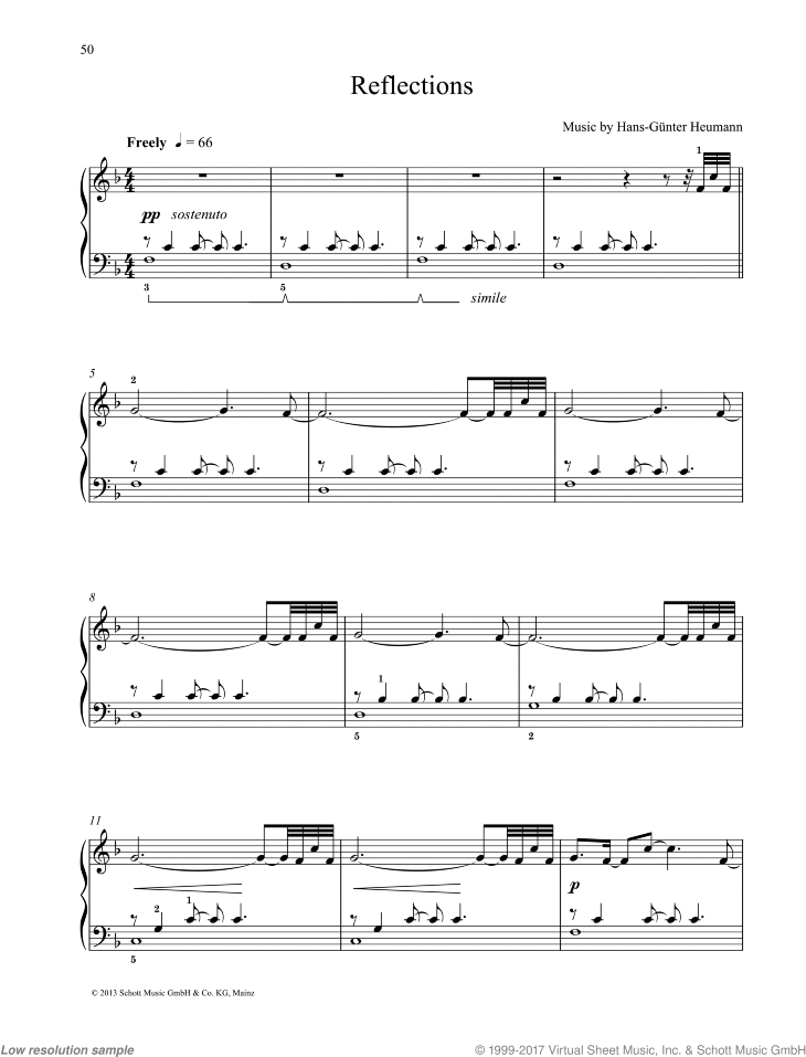 Reflections sheet music for piano solo by Hans-Gunter Heumann, easy/intermediate skill level