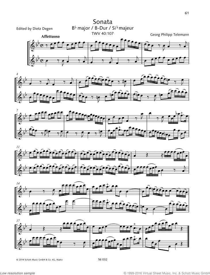 Sonata in B-flat major sheet music for two recorders by Georg Philipp Telemann, classical score, advanced duet