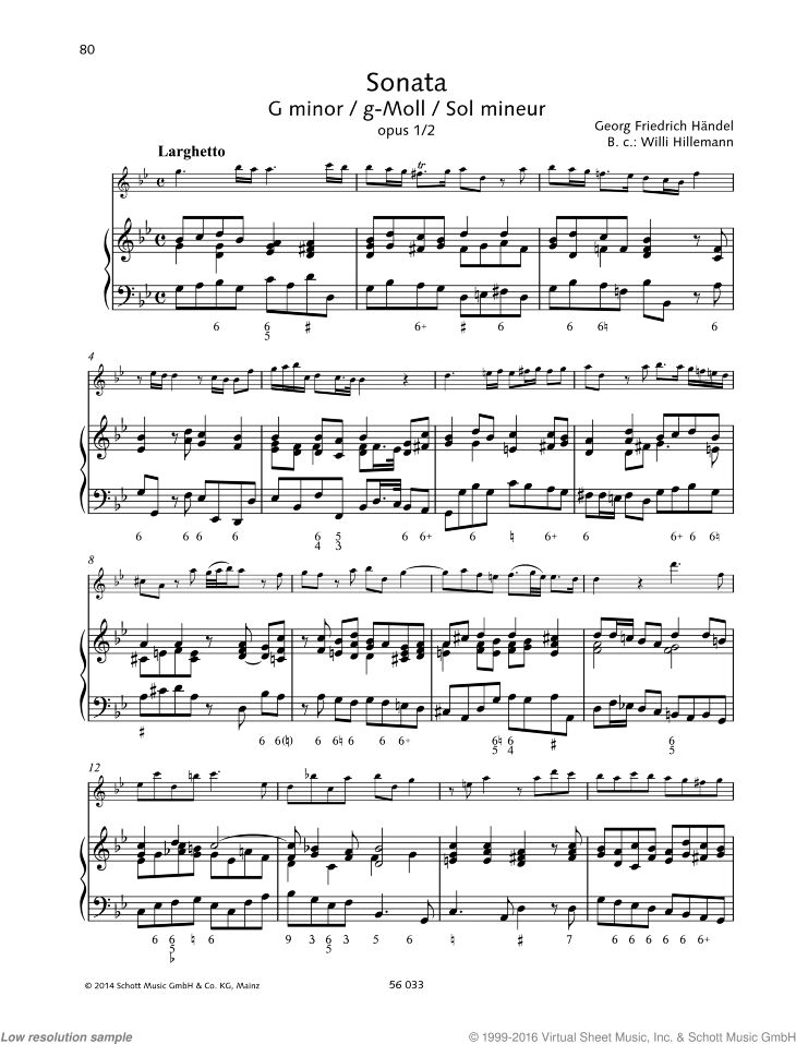 Sonata in G minor sheet music for recorder and piano by George Frideric Handel, classical score, advanced skill level