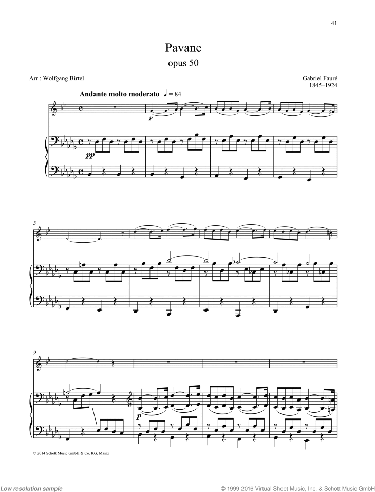 Pavane sheet music for alto saxophone and piano by Gabriel Faure, classical score, easy/intermediate skill level