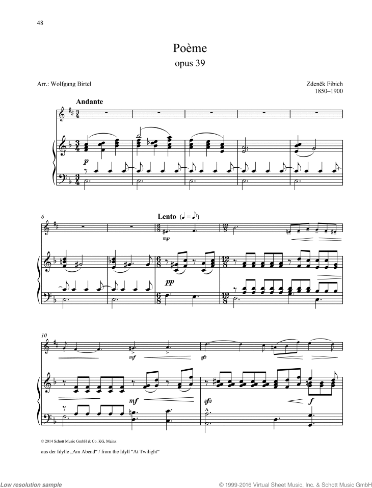 Poeme sheet music for alto saxophone and piano by Zdenek Fibich, classical score, easy/intermediate skill level
