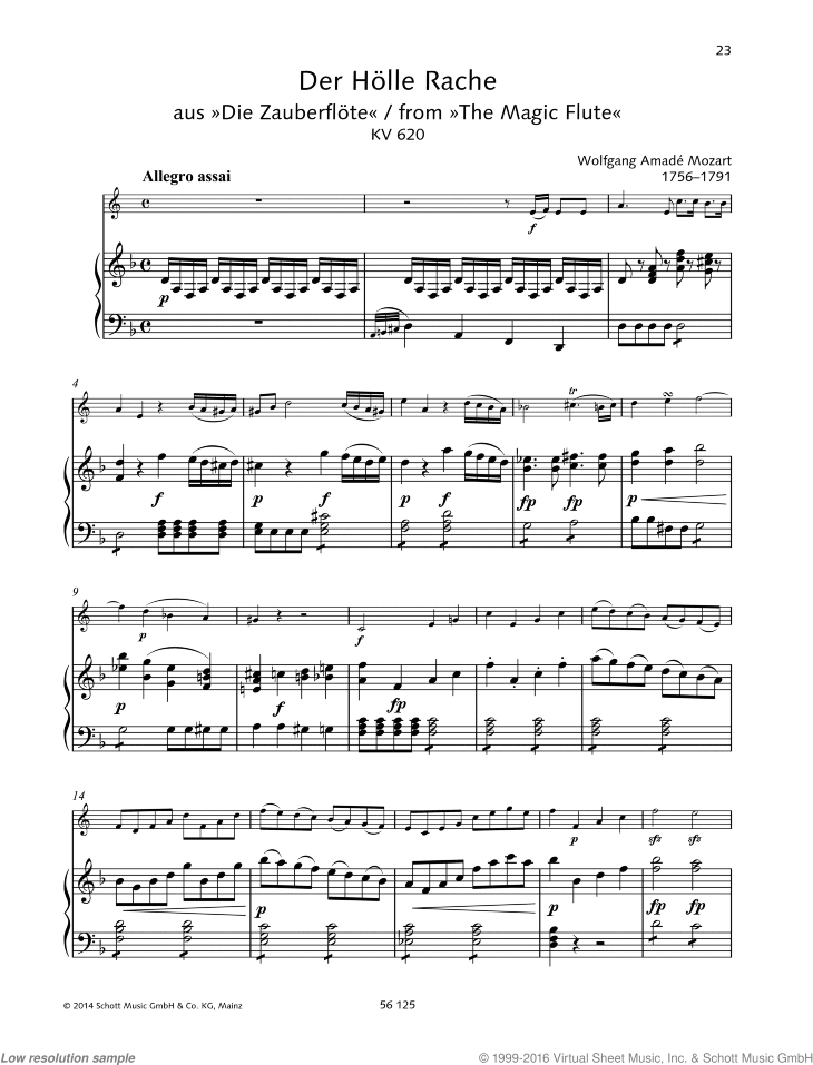 Mozart Der Holle Rache Queen Of The Night Aria From The Magic Flute Sheet Music For Horn And Piano
