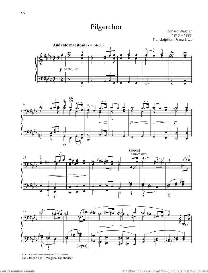 Pilgerchor sheet music for piano solo by Richard Wagner, classical score, easy/intermediate skill level