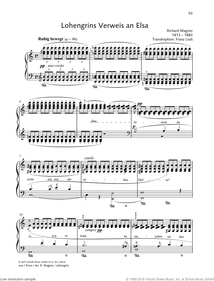 Lohengrins Verweis an Elsa sheet music for piano solo by Richard Wagner, classical score, easy/intermediate skill level