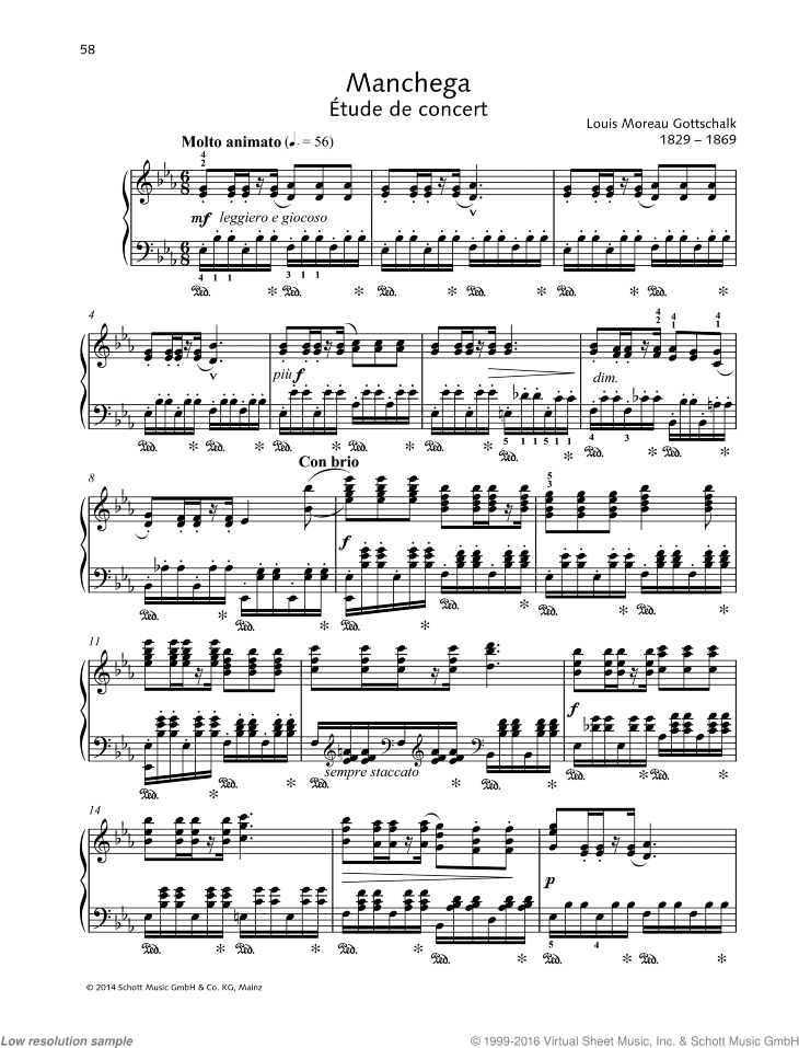 Manchega sheet music for piano solo by Louis Moreau Gottschalk, classical score, easy/intermediate skill level