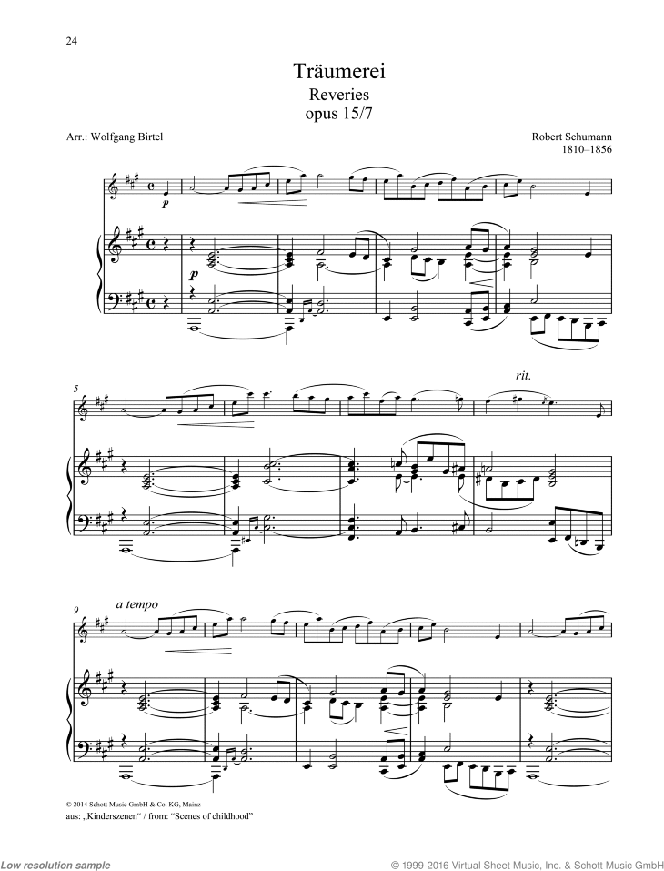 Reveries sheet music for oboe and piano by Robert Schumann, classical score, easy/intermediate skill level