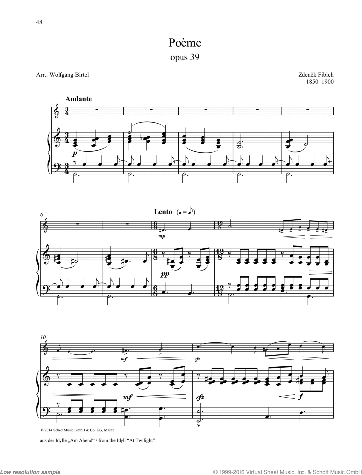Fibich Poeme From The Idyll At Twilight Sheet Music For Oboe And Piano