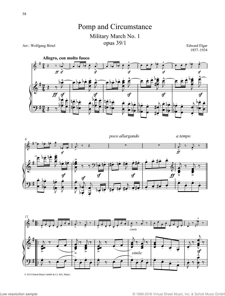 Pomp and Circumstance sheet music for oboe and piano by Edward Elgar, classical score, easy/intermediate skill level
