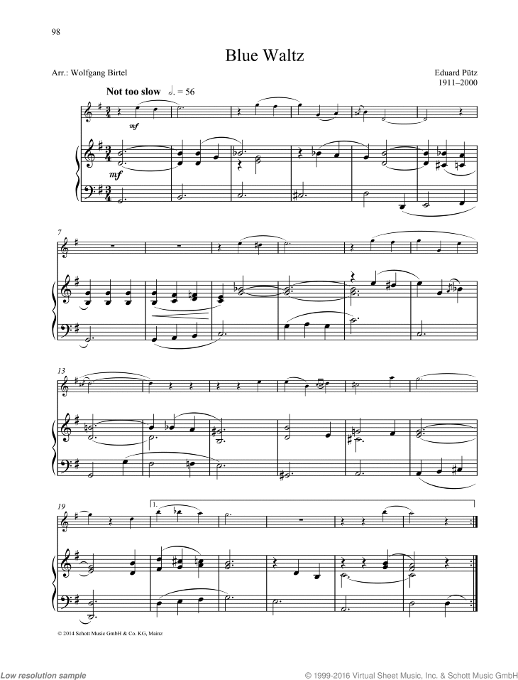 Blue Waltz sheet music for oboe and piano by Eduard Putz, classical score, easy/intermediate skill level