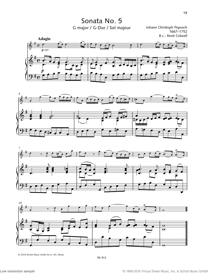 Sonata No. 5 in G major sheet music for violin and piano by Johann Christoph Pepusch, classical score, advanced skill level