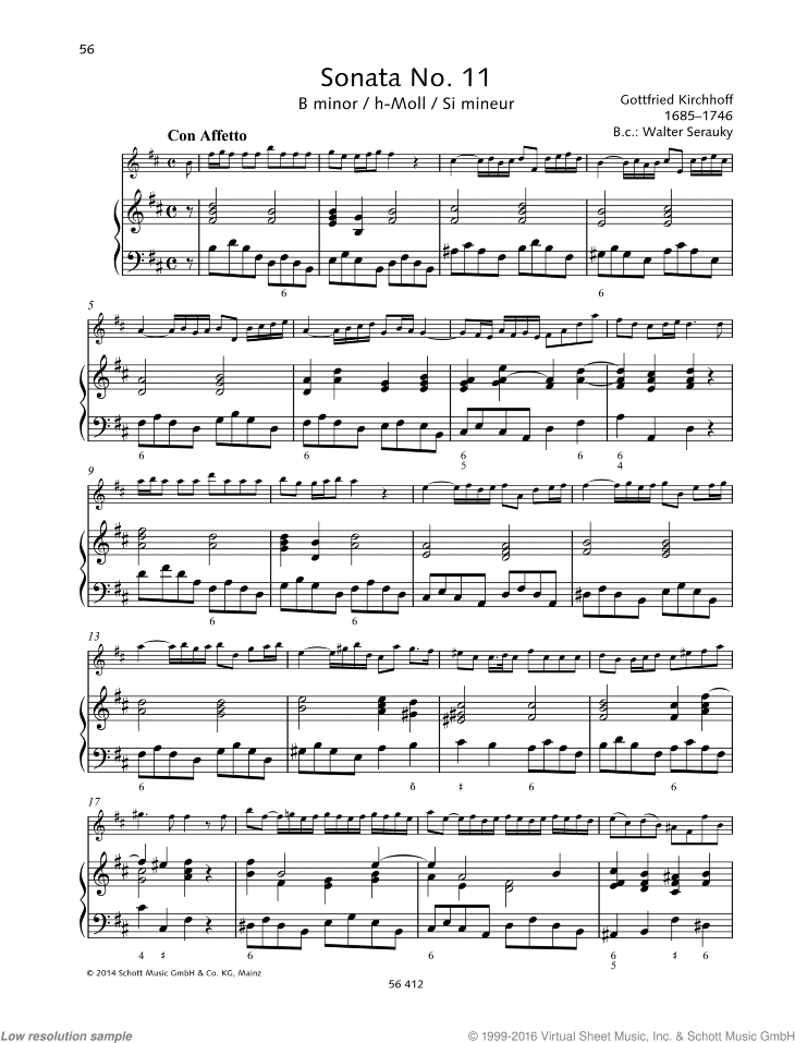 Sonata No. 11 in B minor sheet music for violin and piano by Gottfried Kirchhoff, classical score, advanced skill level