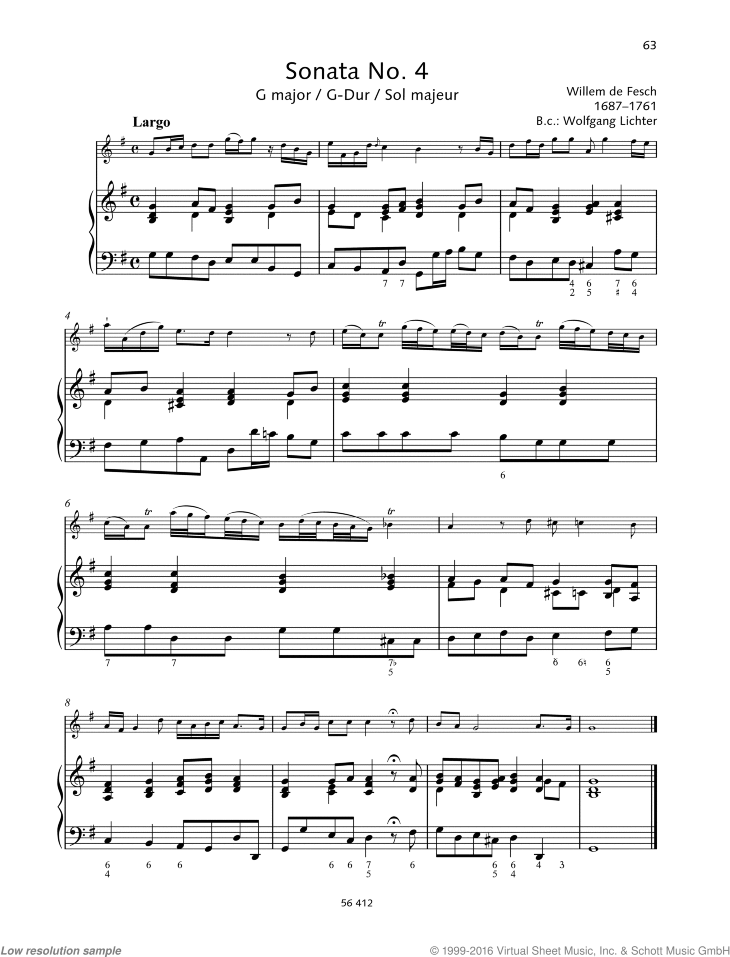 Sonata No. 4 in G major sheet music for violin and piano by Willem de Fesch, classical score, advanced skill level