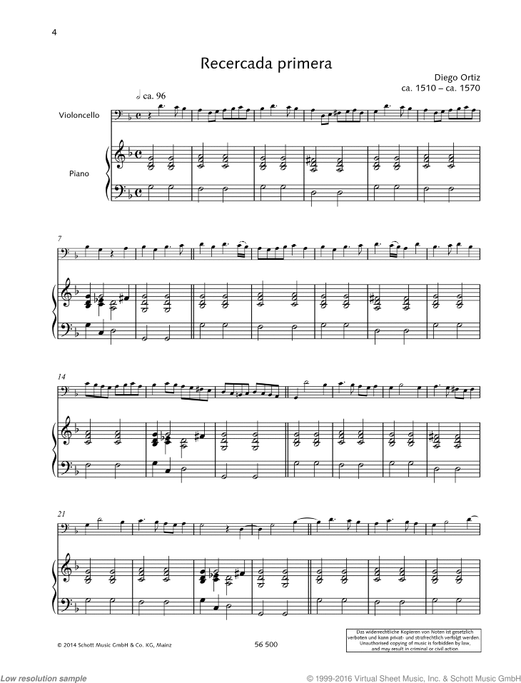 Recercada primera sheet music for cello and piano by Diego Ortiz, classical score, easy/intermediate skill level