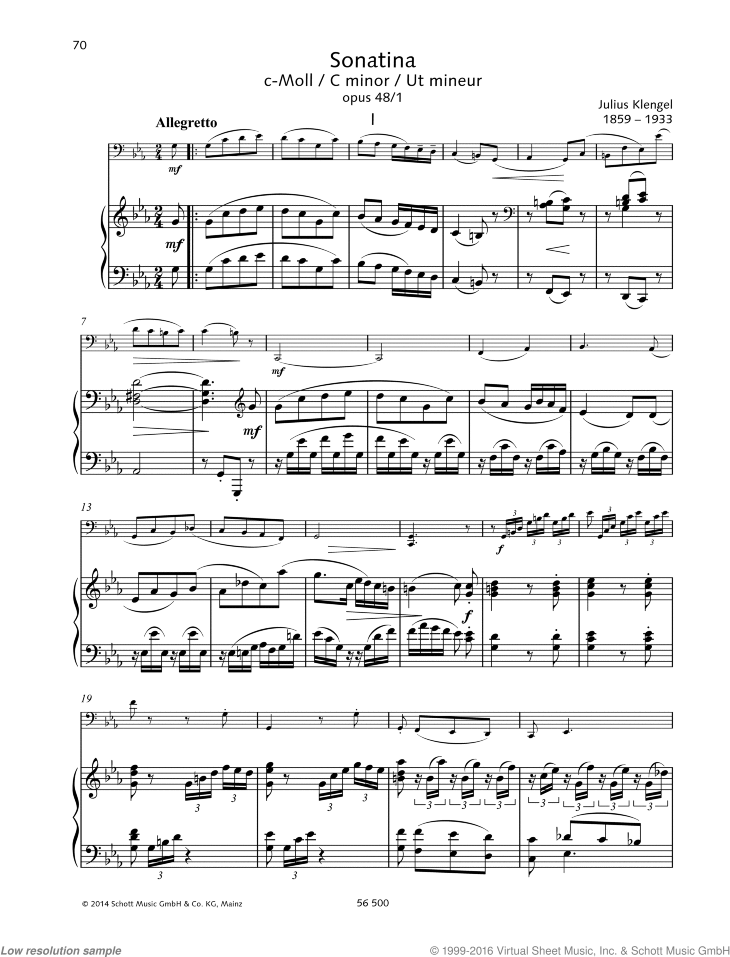 Sonatina in C minor sheet music for cello and piano by Julius Klengel, classical score, easy/intermediate skill level